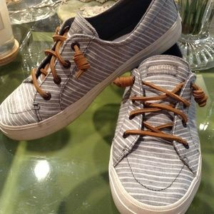 SPERRY BLUE/WHITE STRIPED LACE UP CANVAS LOAFERS,
